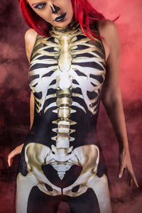 Graveyard Skeleton Sleeveless Costume Bodysuit >> BADINKA