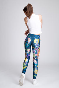 Rabbidelic Leggings (Blue) Leggings >> BADINKA