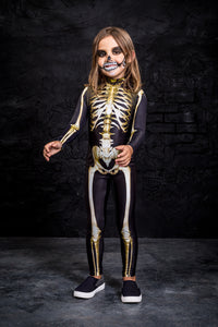 Girls' Graveyard Skeleton Costume Bodysuit >> BADINKA