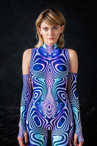 Purple Liquid Catsuit Bodysuit >> BADINKA