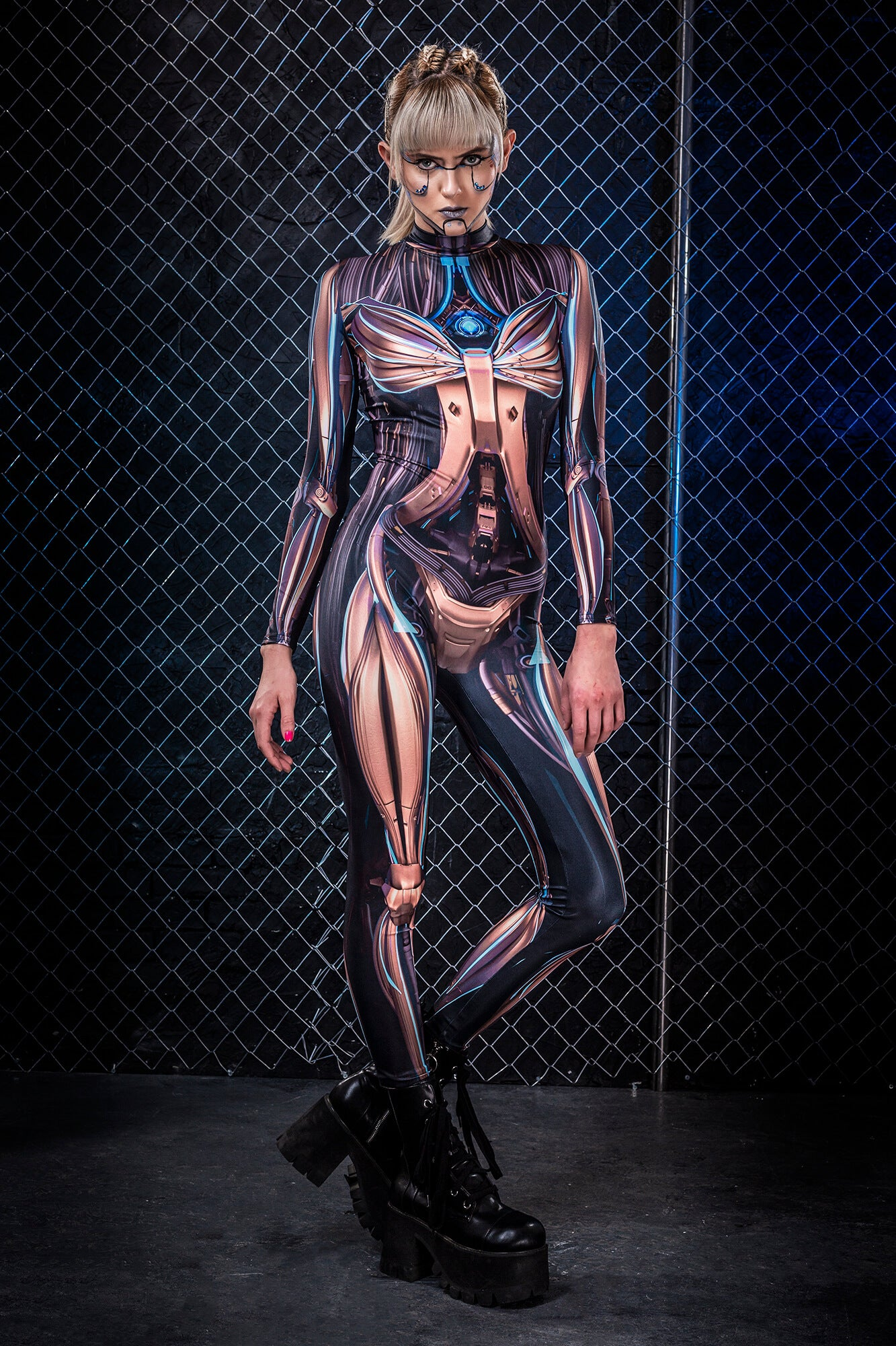 Golden CyberLink Costume Bodysuit >> BADINKA