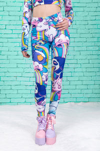 Sick Of You Warm Leggings (Blue) Winter Leggings >> BADINKA
