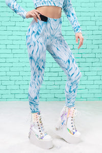 Blue Furr Warm Leggings Winter Leggings >> BADINKA