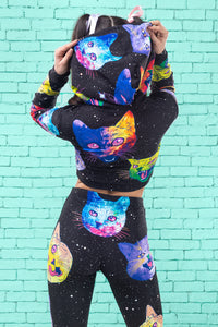 Cosmic Kitties HOODED TOP TOP >> BADINKA