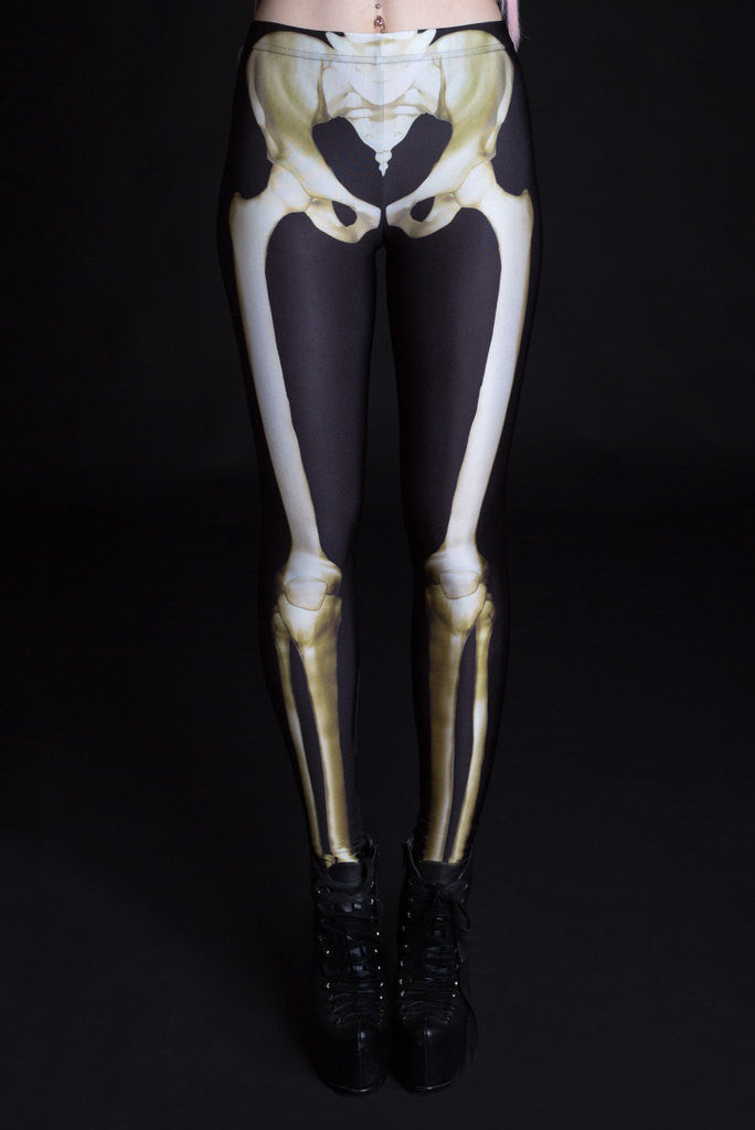 Graveyard Skeleton Leggings Leggings >> BADINKA (close look)