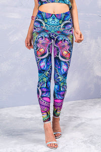 Blue Fractal Leggings Leggings >> BADINKA