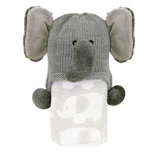 Stephan Baby- Hat and Blanket Set- Elephant