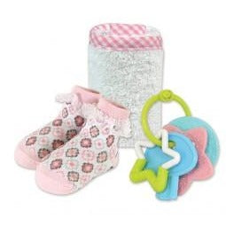 Stephan Baby- Washcloth & Sock Diamond Flower, 6-12 mo