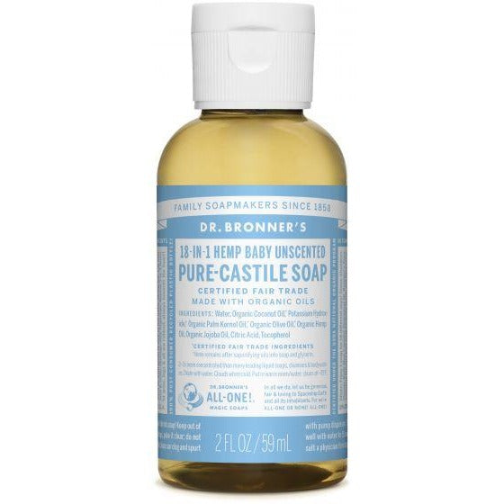 Dr. Bronner's 18-in-1 Hemp Baby Unscented Pure Castile Soap (2 fl oz)