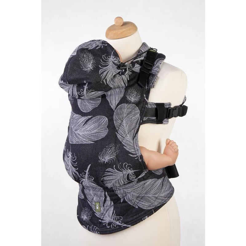 Lenny Lamb Wrap Conversion Ergonomic Carrier, Feathers Black and Whte