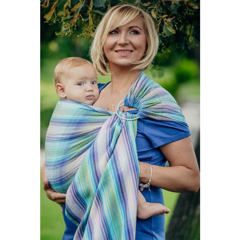 Lenny Lamb Wrap Conversion Ring Sling, Little Herringtone Petra (100% Cotton) with Gathered Shoulder