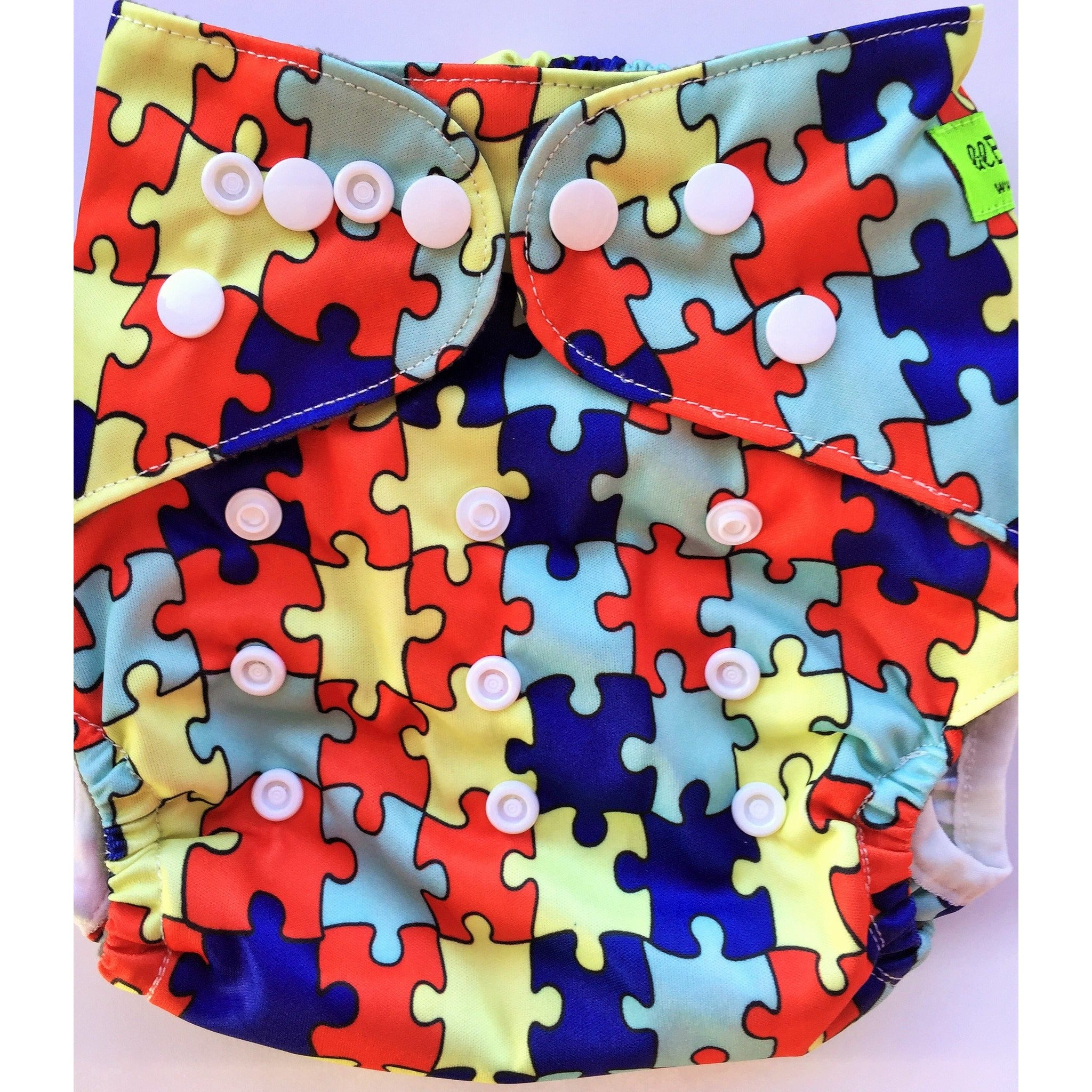 Lil' Bamboo Charcoal Bamboo Pocket Diaper - Puzzle