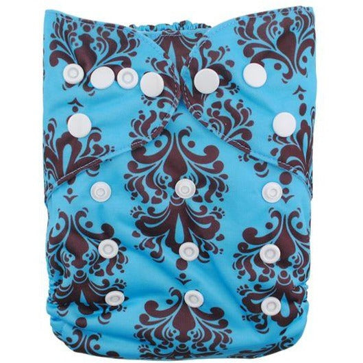 GUC Alva OS Pocket Diaper- Blue/ Brown