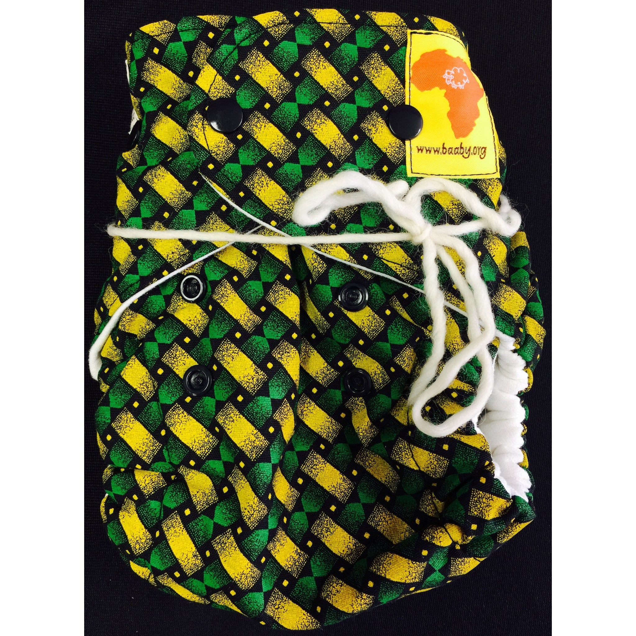 Baaby Fitted Diaper - Green/Yellow