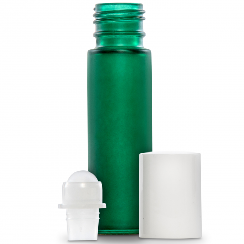 Plant Therapy - 10ml (1/3 fl oz) Green Frosted Glass Essential Oil Roll-On Bottles