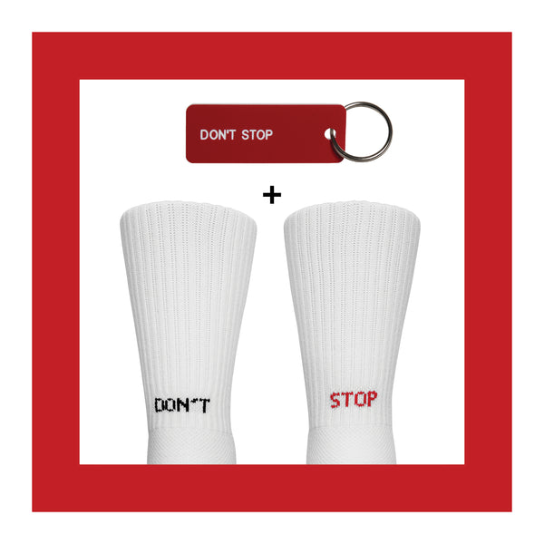 DONT STOP<br>Sock+Keytag Set<br> WHITE <br> MID-CALF