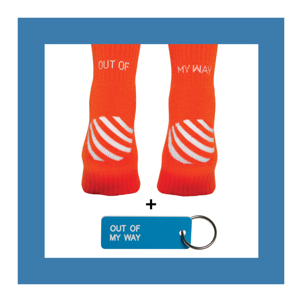 OUT OF MY WAY <br>Sock+Keytag Set<br> ORANGE <br> MID-CALF