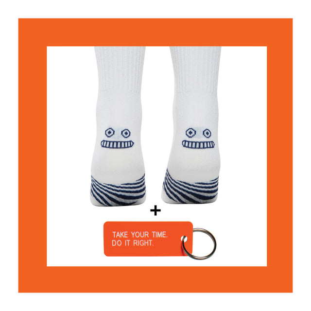 TAKE YOUR TIME<br>Sock+Keytag Set<br> DO IT RIGHT <br>WHITE <br> MID-CALF