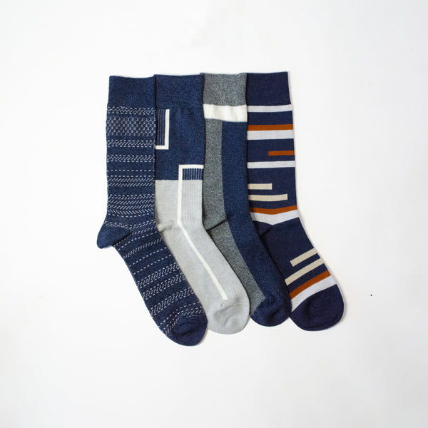 Navy. All Ways.<br>Mid Calf<br>4 Pack