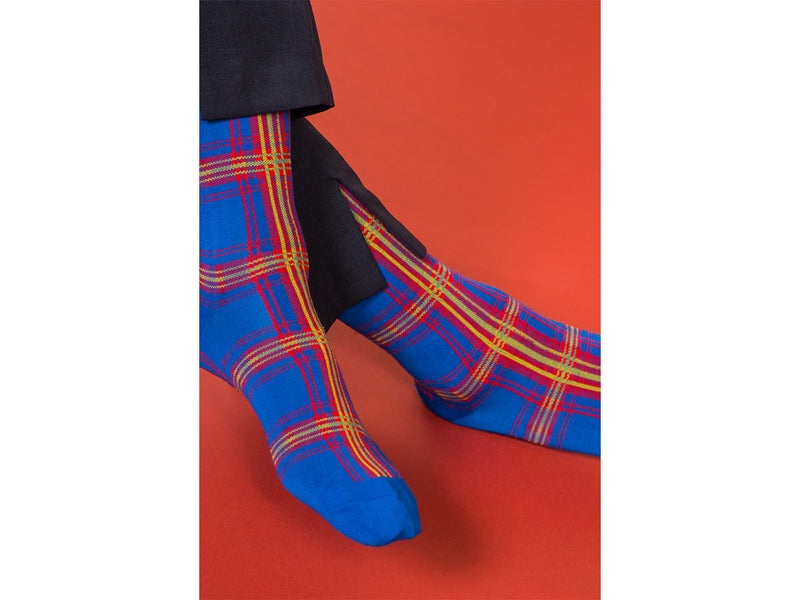 PLAID <br> BLUE <br> MID-CALF