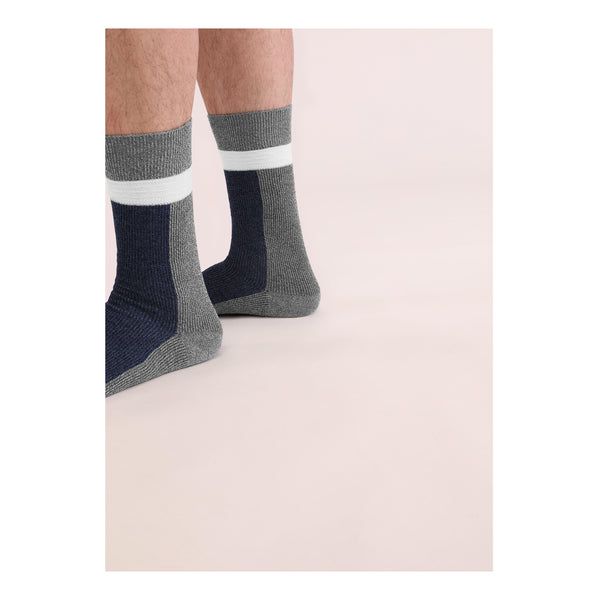 THREE <br> NVY/GRY <br> MID-CALF