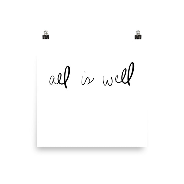 all is well hand lettering print by social proper