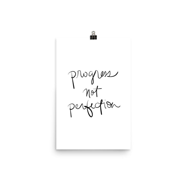 progress not perfection hand lettering print by social proper
