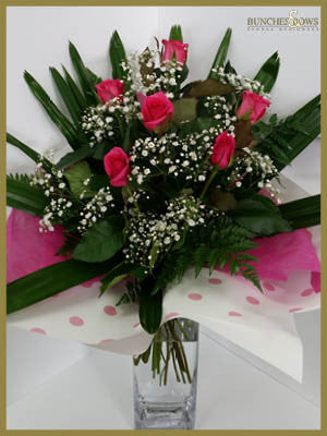 Pink Rose Bouquet, Bunches & Bows Florist, Shop 9, Albion Place, Dunedin 9016