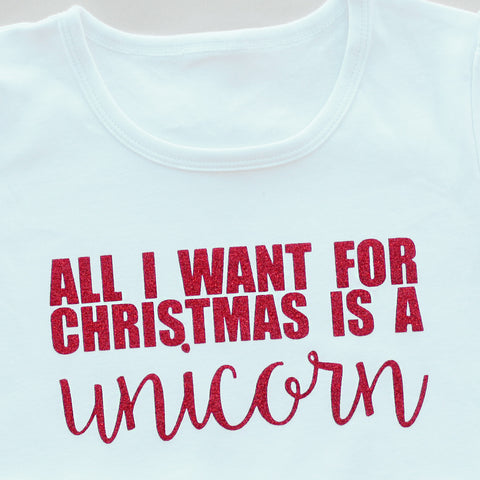 Unicorn for Christmas Top - LONG or SHORT sleeves!