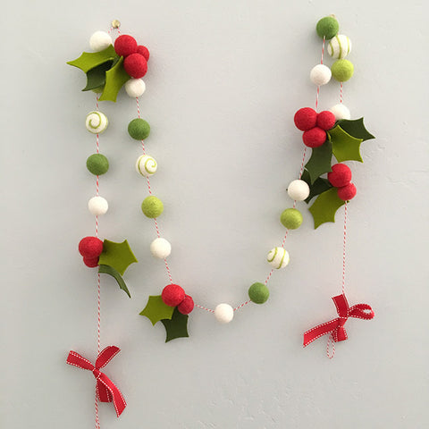 Holly Felt Garland