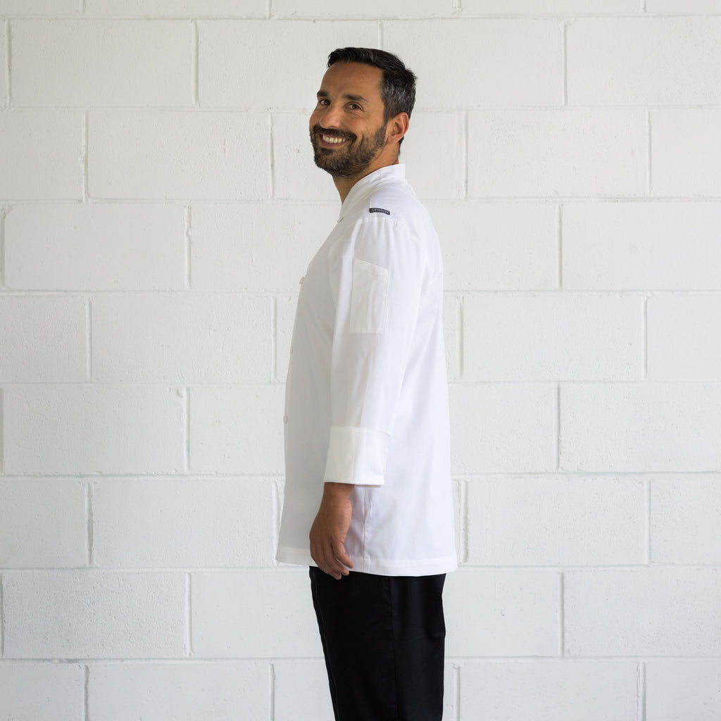 Men's-Chef-Jacket-Classic-Long-Sleeve-White-Side