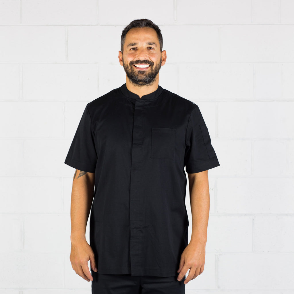 Chefs-jacket-Black-Mens-Short-sleeve-front
