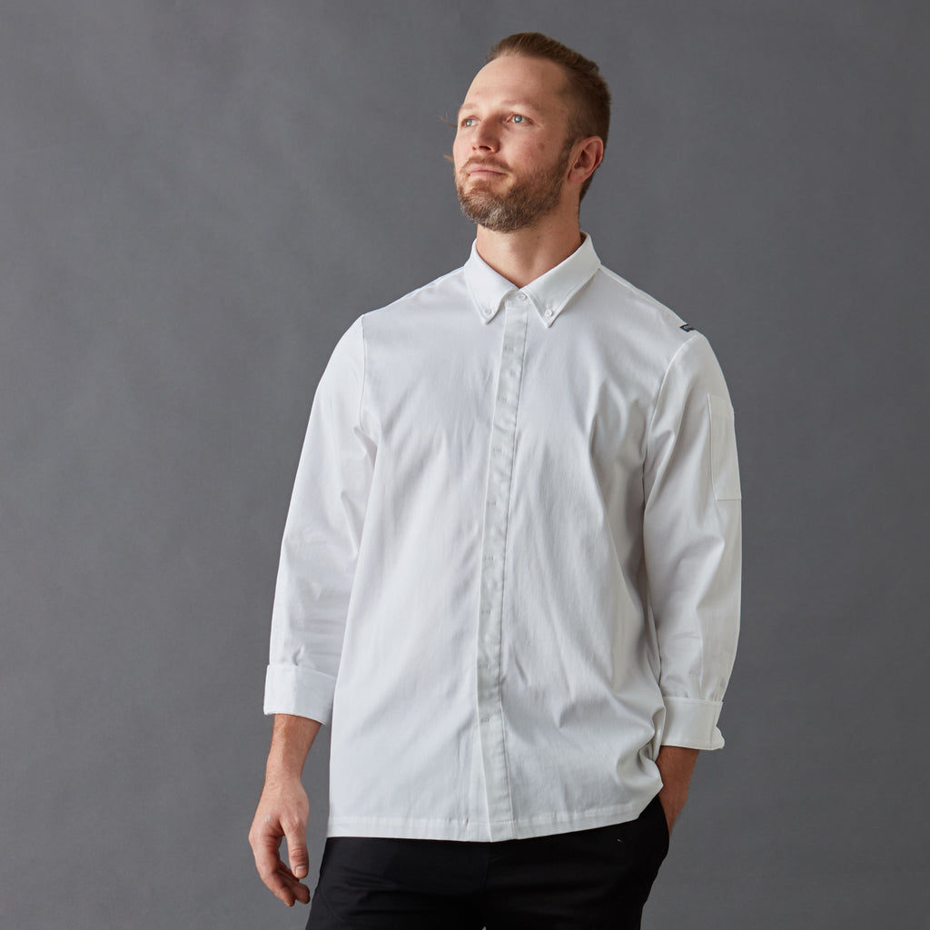 Men's French cuffed long sleeve Chef Shirt, Organic cotton