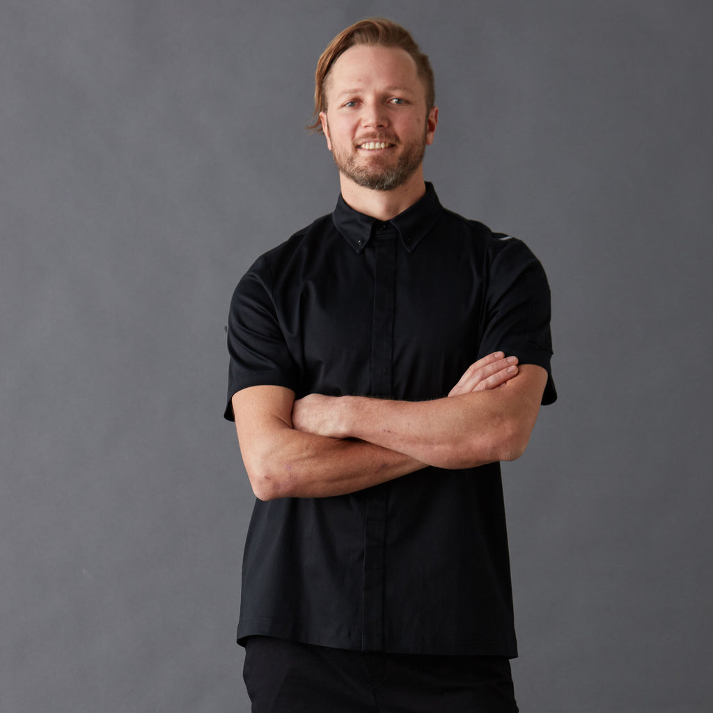 Men's Black Chef Shirt Super Slick short sleeve made from Organic cotton