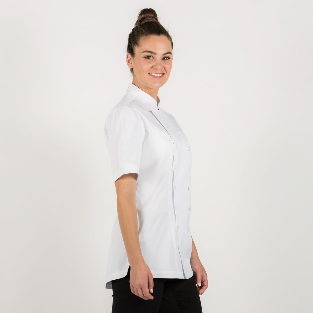 Ladies PREMIUM white chef jacket with short sleeves, made from Organic cotton ( medium weight fabric )
