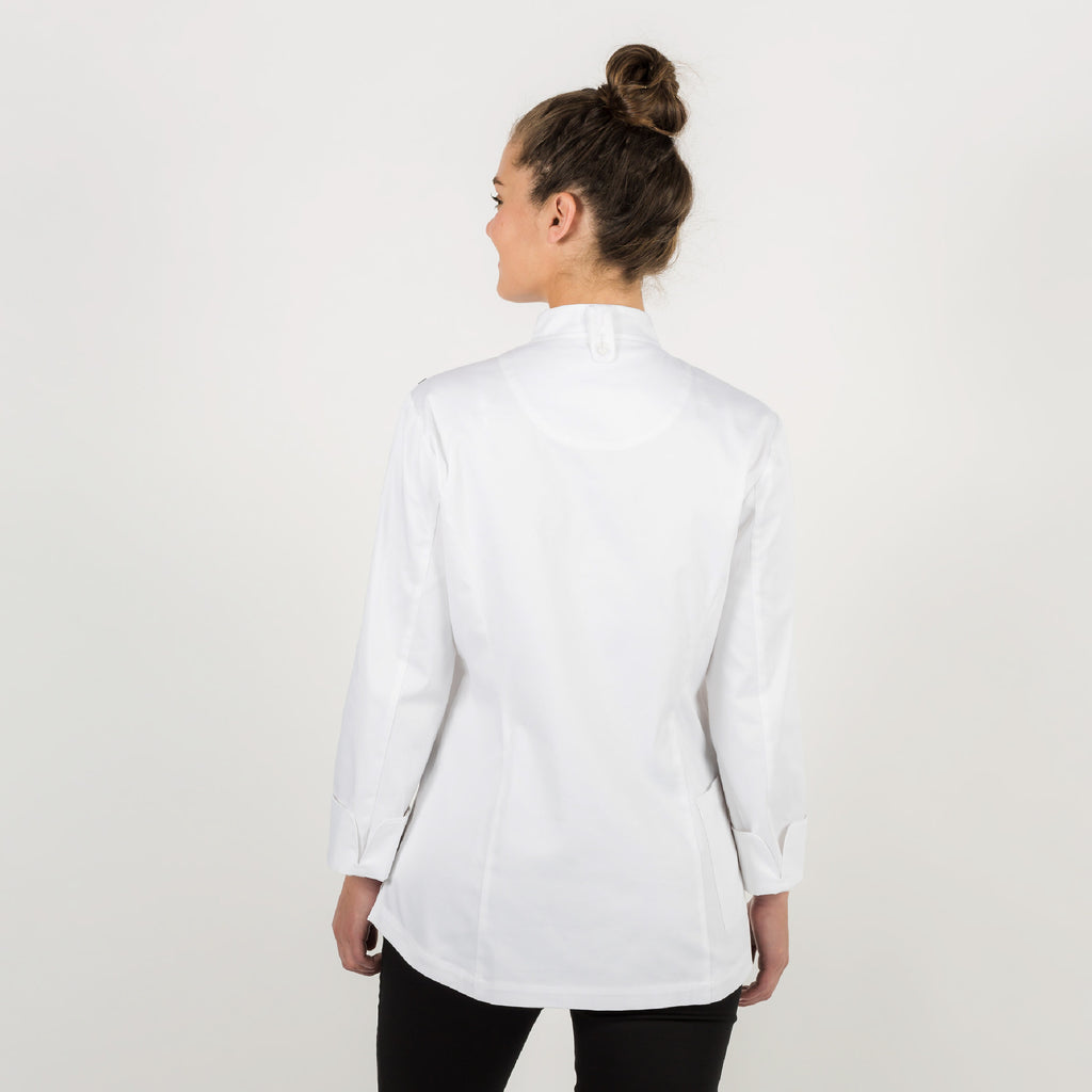 Ladies PREMIUM white chef jacket with long sleeves. Made from Organic cotton (medium weight fabric)
