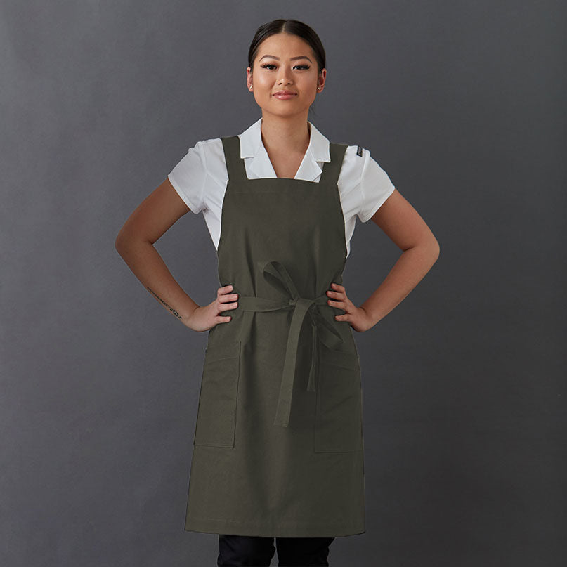 Apron Harry PETITE with cross back straps and two generous front pockets, made from Organic cotton