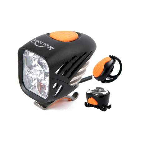 Magic Shine 5000 Lumen Front Light + Taillight with with Wireless Remote IPX4 plus Garmin Type Helmet Mount