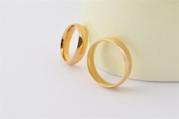 Fashion high polished shiny 18k gold plated band couple rings 316L sta