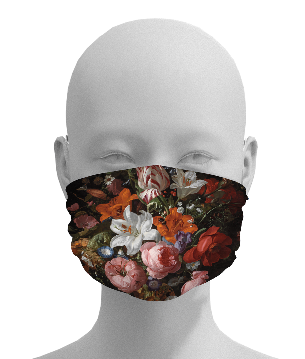 Flowers in a Glass Vase Mask -  Paper and Fabric