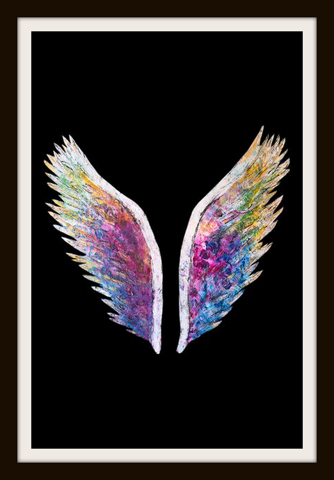 Global Angel Wings Black Print -  Paper and Fabric