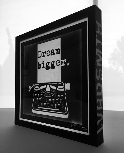 Dream Bigger Print Custom Framed & Spray Painted -  Paper and Fabric