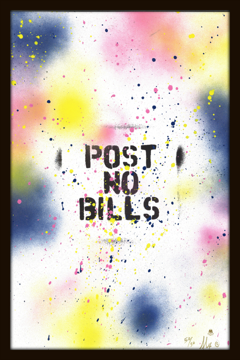 Post No Bills Hand Painted Limited Edition Print (Benefits HOLA) -  Paper and Fabric