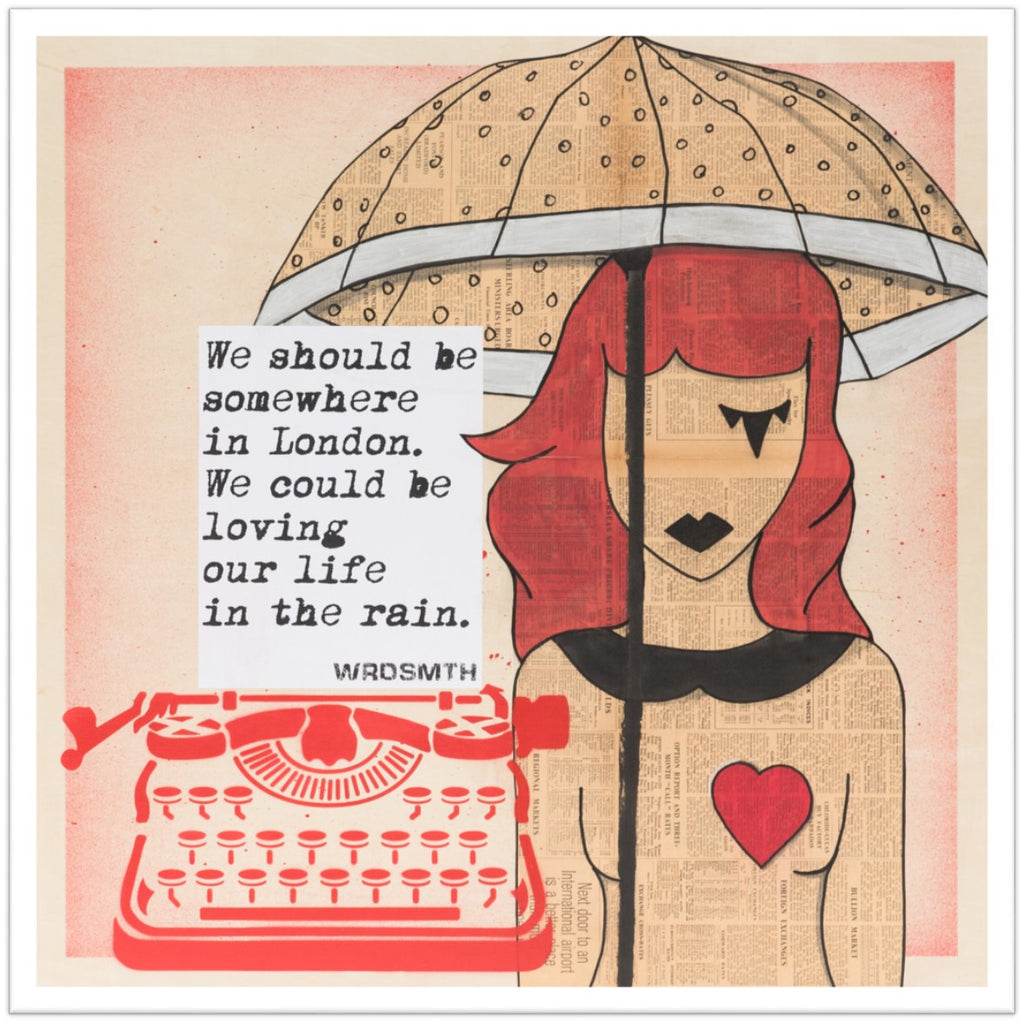 London Rain Signed Print -  Paper and Fabric