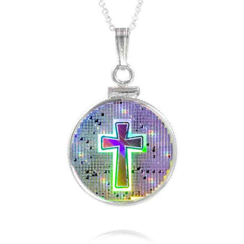 "Nano Bible Cross Pendant set includes 18"" 1.4mm Curb Chain (Entire Bible On Necklace)"