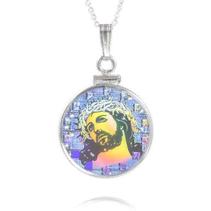 "Nano 14 Stations of the Cross Sterling Pendant set includes 18"" 1.4mm Curb Chain (Micro Images of Christ)"
