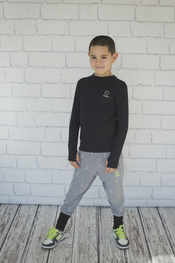 Boys Black Long Sleeve Top