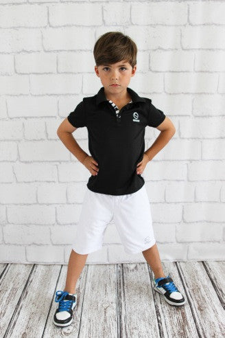 Boys Black Sport Polo