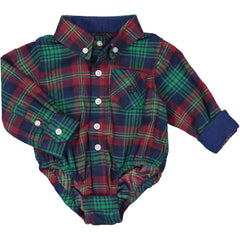 Navy/Red/Green Plaid Flannel Shirt