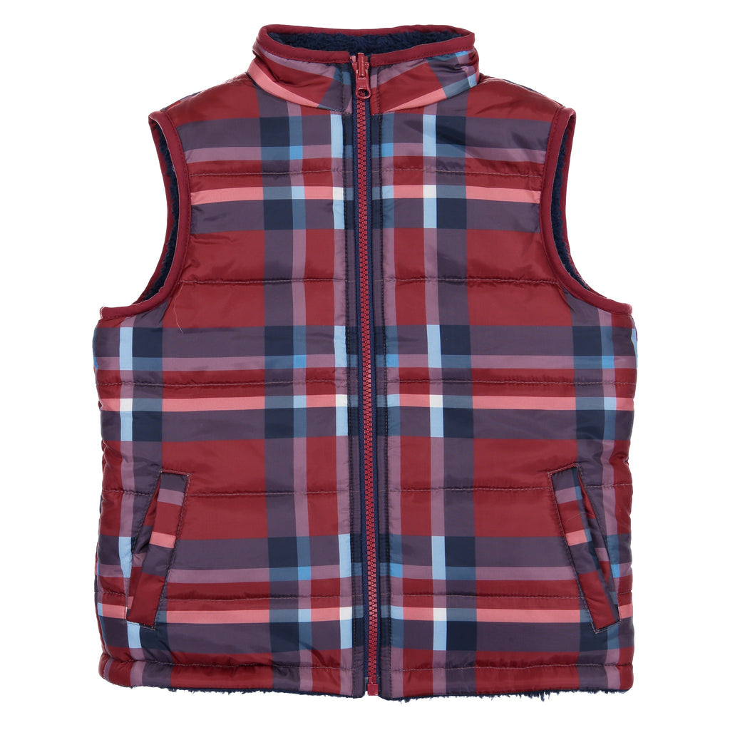 Boys Reversible Red Buffalo Vest - Andy & Evan